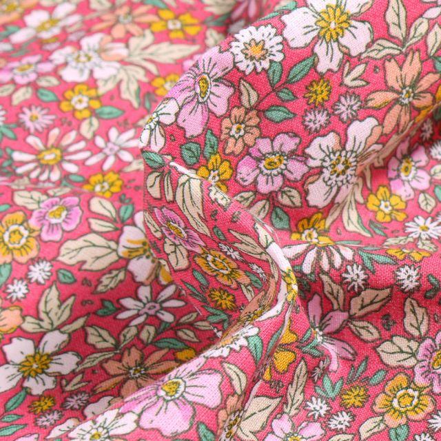 Tissu Coton imprimé Arty Pensée sur fond Rose