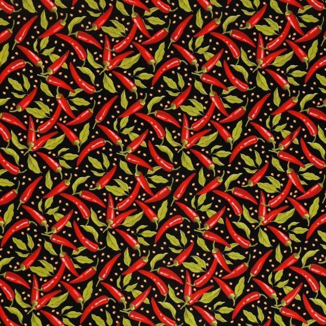 Toile Cirée Piments rouges et verts sur fond Noir - Par 10 cm