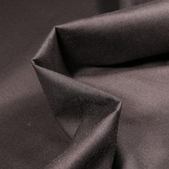 Tissu Popeline de coton mercerisé uni Elise Noir