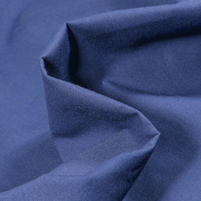 Tissu Popeline de coton mercerisé uni Elise Bleu indigo