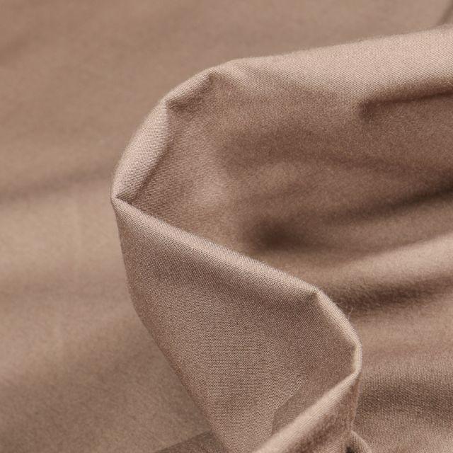 Tissu Popeline de coton mercerisé uni Elise Taupe