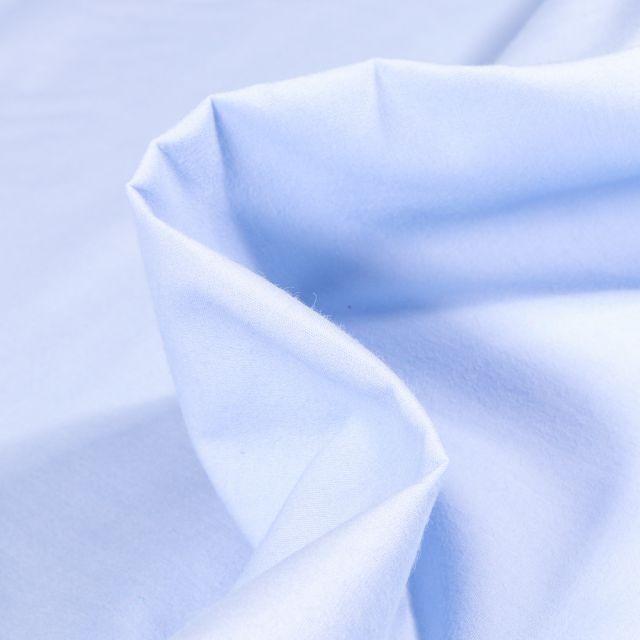 Tissu Popeline de coton mercerisé uni Elise Bleu ciel