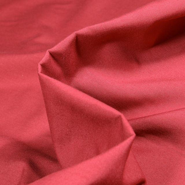 Tissu Popeline de coton mercerisé uni Elise Rouge