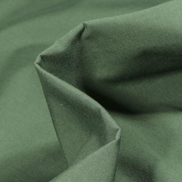 Tissu Popeline de coton mercerisé uni Elise Vert