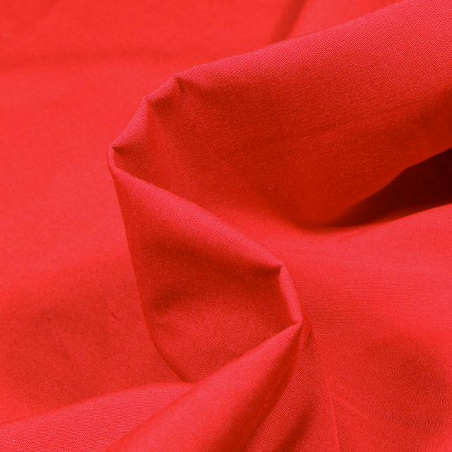 Tissu Popeline de coton mercerisé uni Elise Rouge griotte