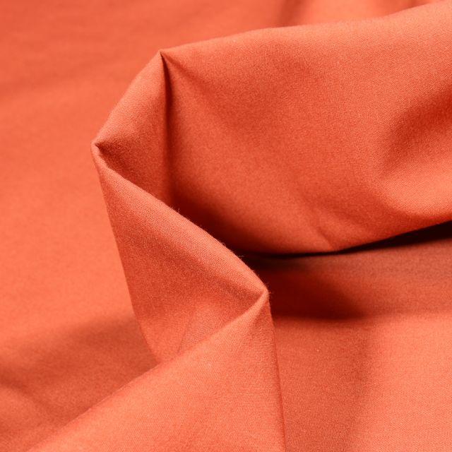 Tissu Popeline de coton mercerisé uni Elise Orange