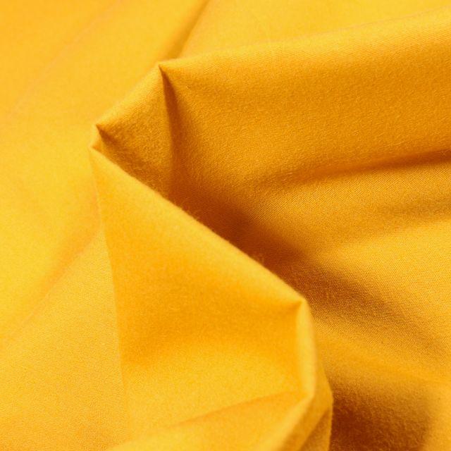 Tissu Popeline de coton mercerisé uni Elise Jaune curry