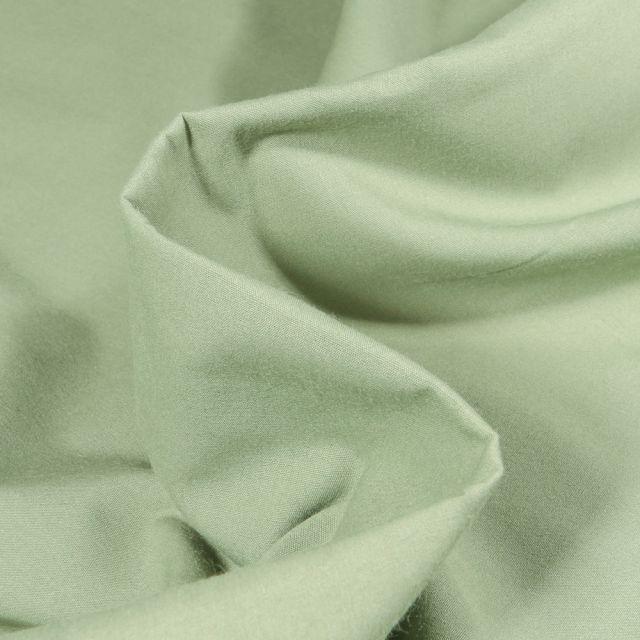 Tissu Popeline de coton mercerisé uni Elise Vert amande