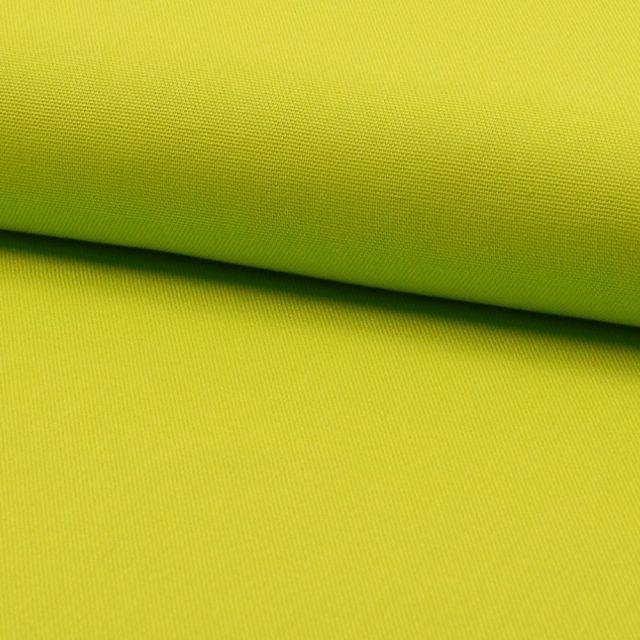 Tissu Coton Sergé d'ameublement uni Vert Anis - Par 10 cm