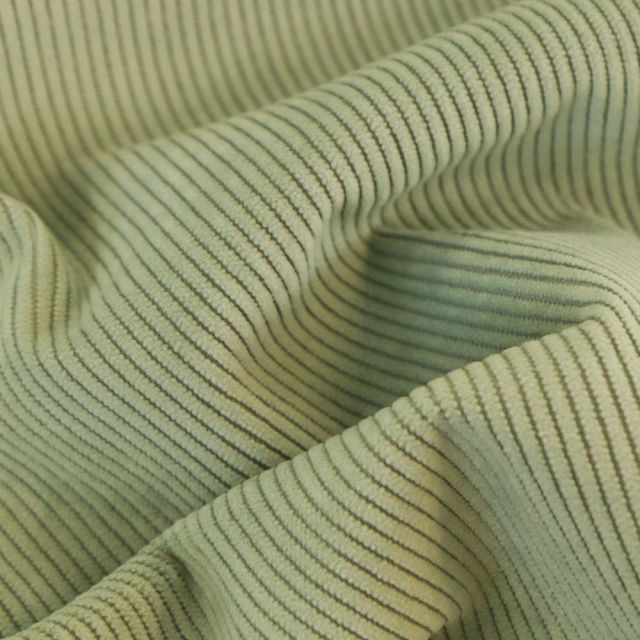 Tissu Velours d'ameublement côtelé Lena Vert d'eau - Par 10 cm