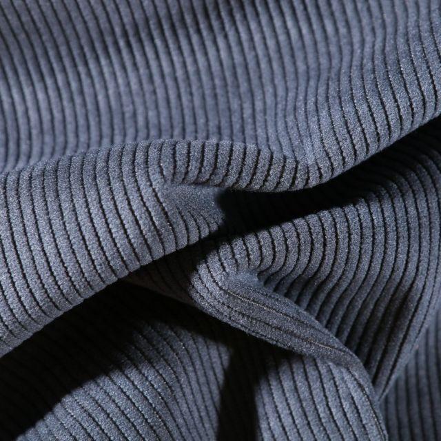 Tissu Velours d'ameublement côtelé Lena Bleu marine - Par 10 cm
