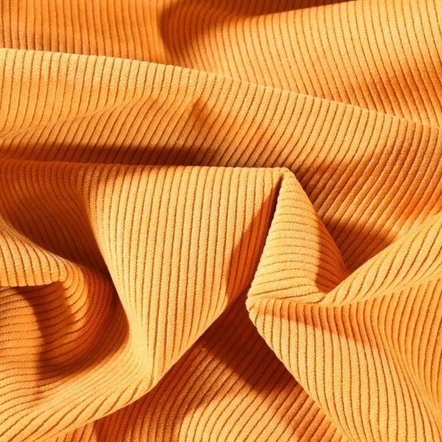 Tissu Velours d'ameublement côtelé Lena Ocre - Par 10 cm