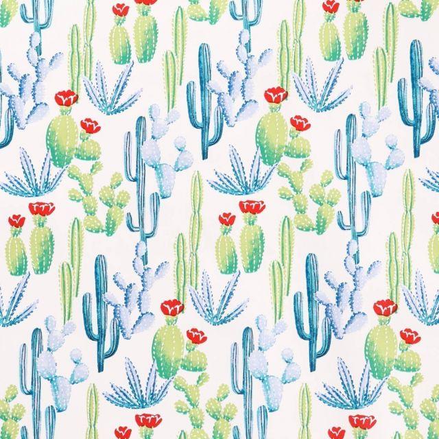 Toile Cirée Tijuana Cactus bleus, verts et rouges sur fond Blanc - Par 10 cm