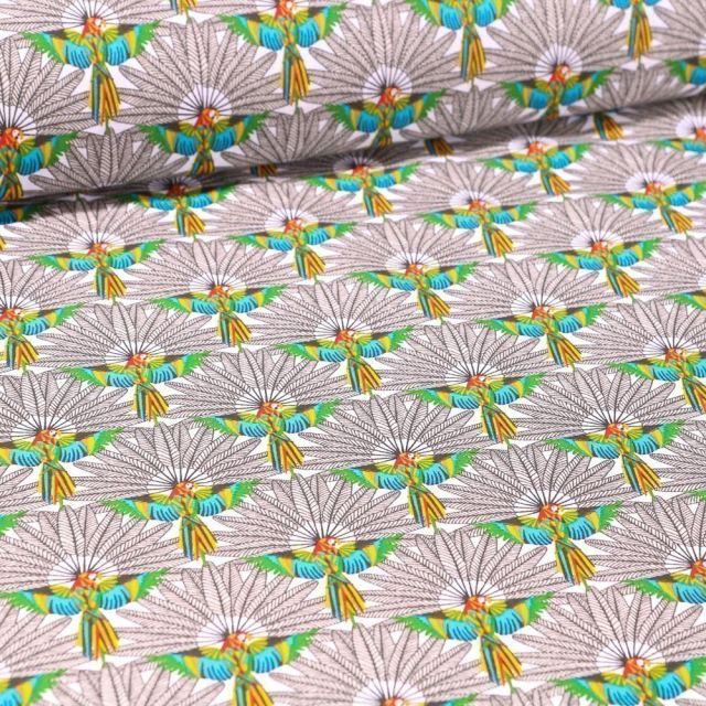 Tissu Coton imprimé Arty Perroquet et plumes sur fond Blanc - Par 10 cm