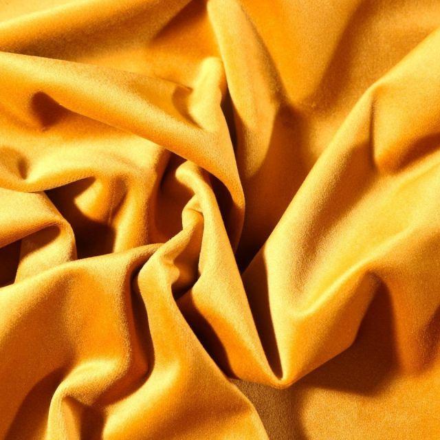 Tissu Velours d'ameublement uni souple Jaune or - Par 10 cm