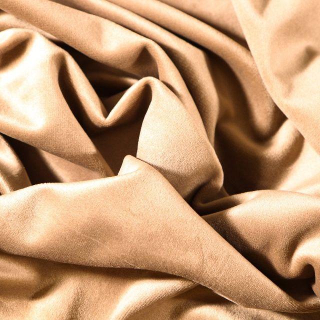 Tissu Velours d'ameublement uni souple Beige - Par 10 cm