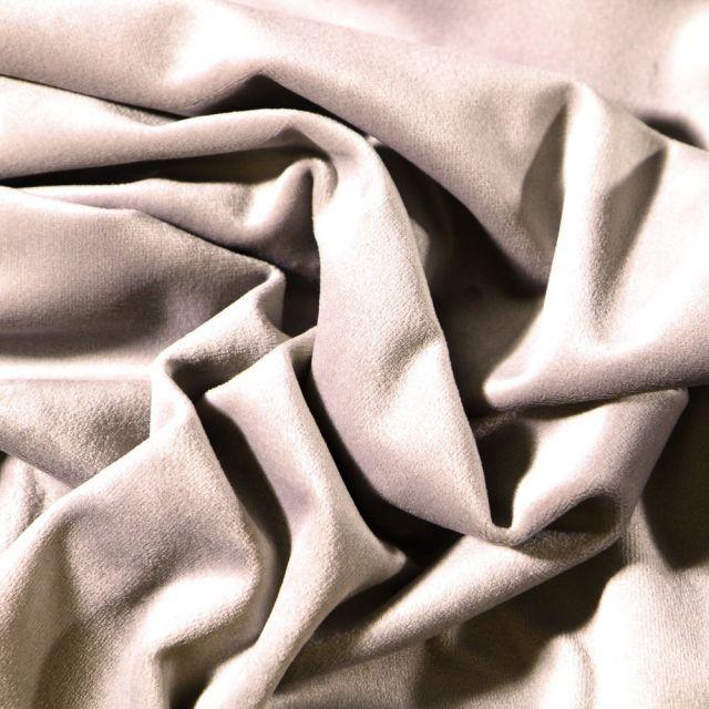 Tissu Velours d'ameublement uni souple Gris - Par 10 cm