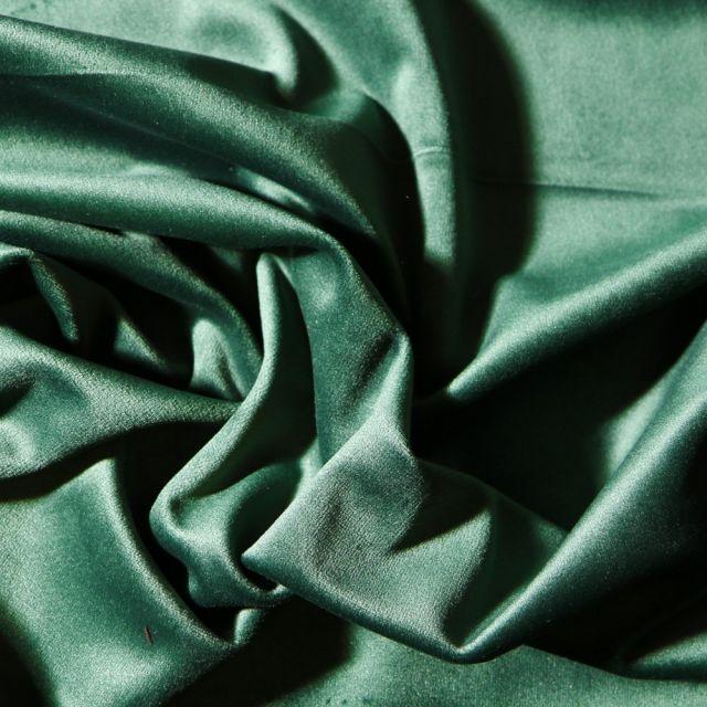 Tissu Velours d'ameublement uni souple Vert sapin - Par 10 cm