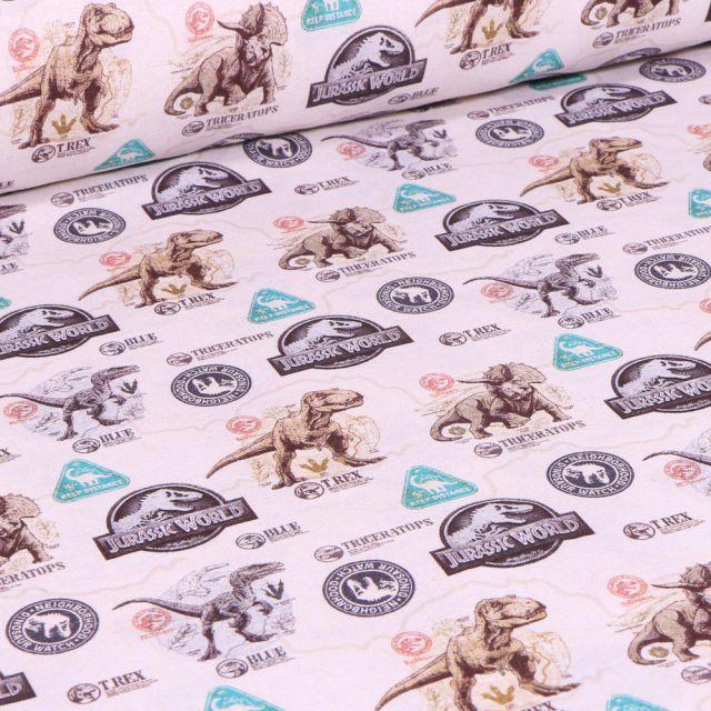 Tissu Jurassic World sur fond Blanc cassé