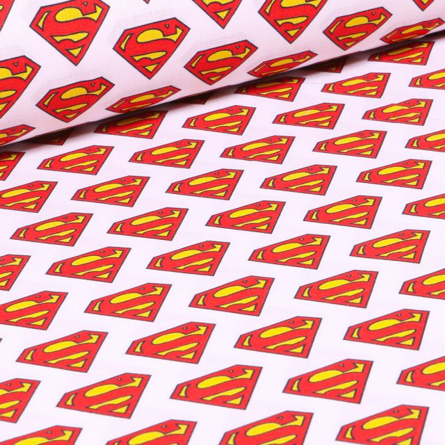 Tissu Superman Logo sur fond Blanc