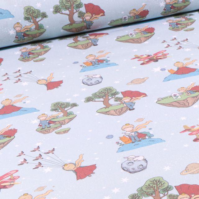 Tissu Le Petit prince sur fond Bleu ciel