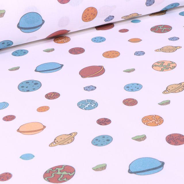 Tissu Le Petit Prince Planètes sur fond Blanc