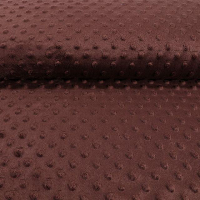 Tissu Minky Ultra doux Pois Chocolat - Par 10 cm
