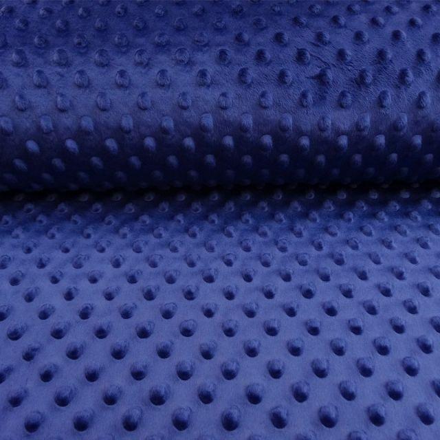 Tissu Minky Ultra doux Pois Bleu roi - Par 10 cm