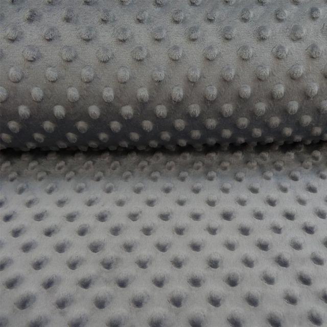 Tissu Minky Ultra doux Pois Gris anthracite - Par 10 cm