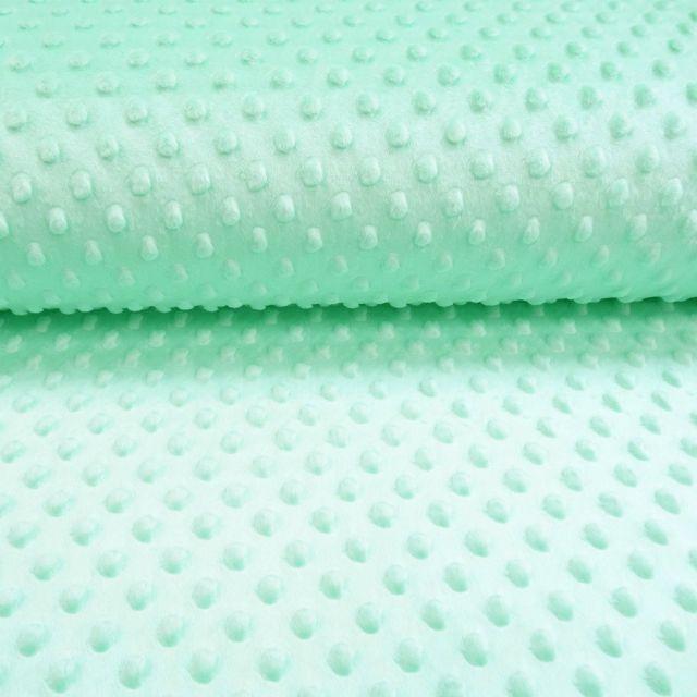 Tissu Minky Ultra doux Pois Menthe - Par 10 cm