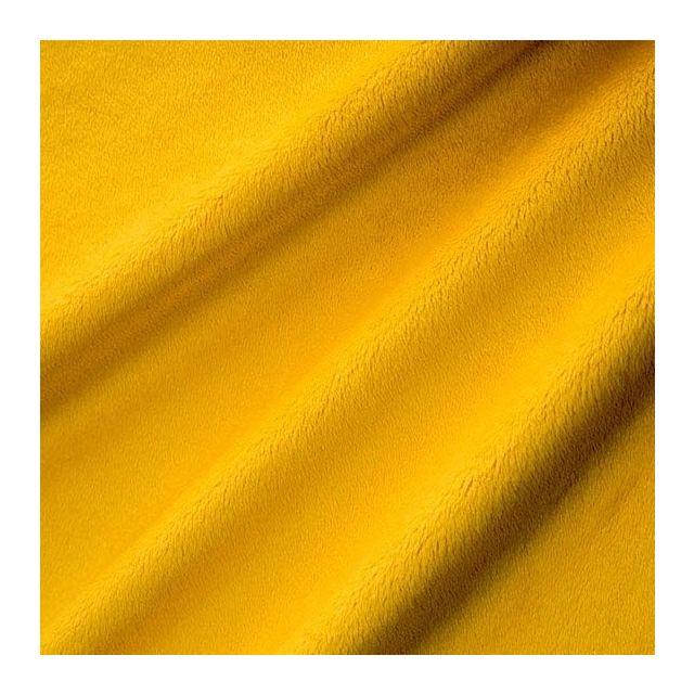 Tissu Minky Ultra doux Ras Jaune Canary x10cm