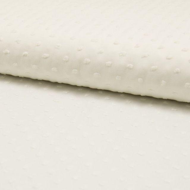 Tissu Plumetis Coton Ecru - Par 10 cm