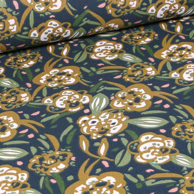 Tissu Coton imprimé Arty Zoelie olive sur fond Bleu marine