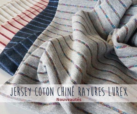 Tissus jersey rayures lurex