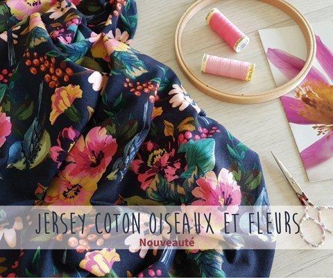 Tissu Jersey Coton Oiseaux et Fleurs multicolores