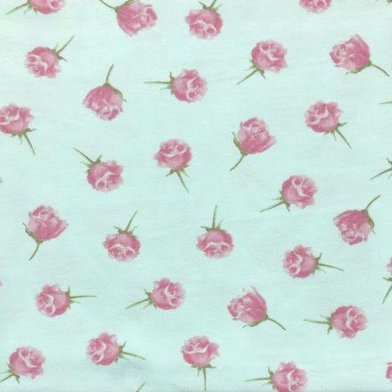 Tissu Jersey Coton Parfumé Roses sur fond Vert menthe - Par 10 cm