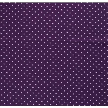 Tissu Jersey Coton Pois parme sur fond Violet - Par 10 cm