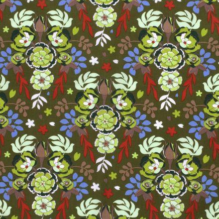 Tissu coton imprimé Fleurs vertes et orange sur fond Vert kaki - Par 10 cm
