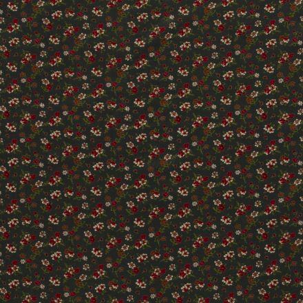 Tissu Jersey Viscose Petits bouquets de fleurs sur fond Vert sapin - Par 10 cm