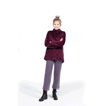 Tissu Fausse fourrure Longs poils Alba Prune - Par 10 cm