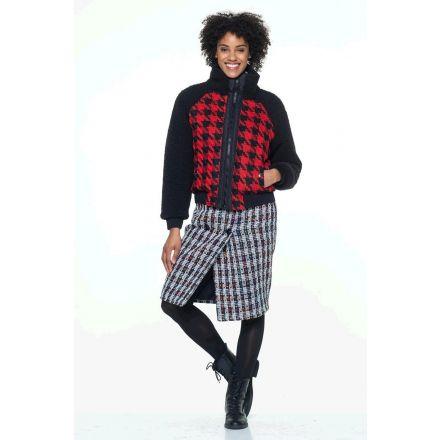 Tissu Tweed Pied de poule rouge sur fond Noir - Par 10 cm