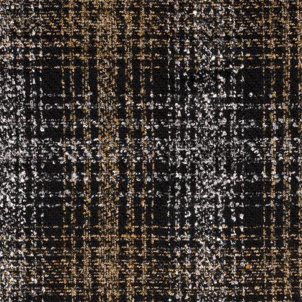 Tissu Tweed Motifs géométrique ocre sur fond Noir - Par 10 cm