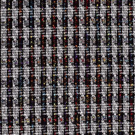 Tissu Tweed Motifs géométrique blanc et multicolore sur fond Noir - Par 10 cm