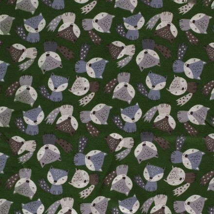 Tissu Sweat Renards envers minky sur fond Vert - Par 10 cm