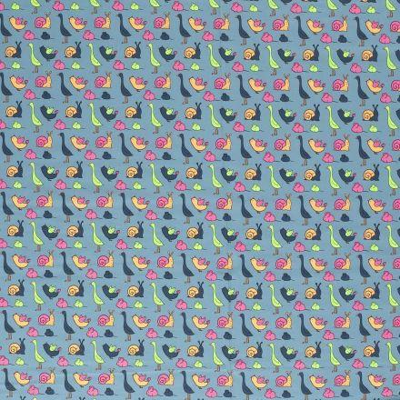 Tissu Jersey Coton Animaux Fluo sur fond Bleu gris - Par 10 cm