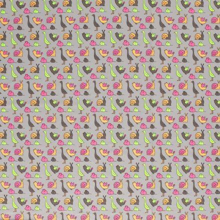 Tissu Jersey Coton Animaux Fluo sur fond Gris - Par 10 cm