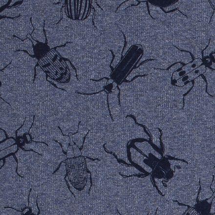 Tissu Sweat Insectes sur fond Bleu chiné - Par 10 cm