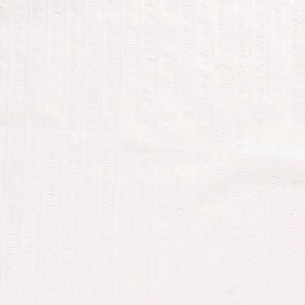 Tissu Coton lavé Brodé Blanc cassé - Par 10 cm