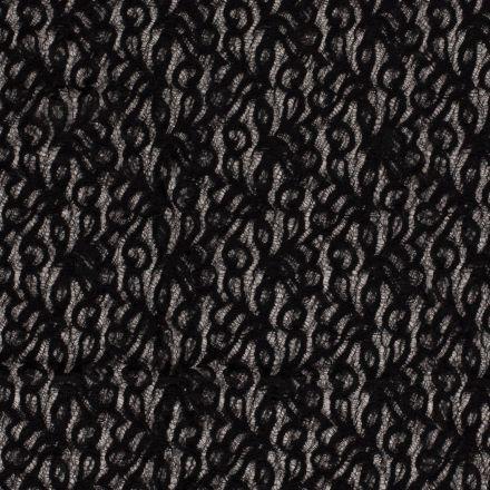 Tissu Dentelle Olga arabesque Noir - Par 10 cm