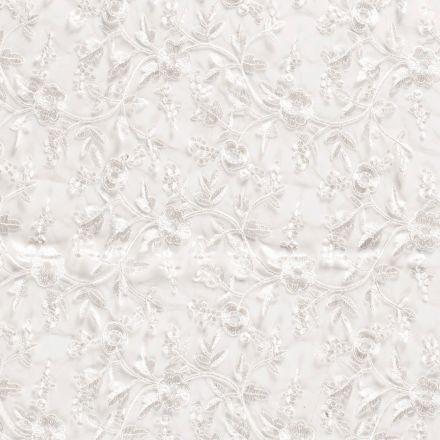 Tissu Dentelle brodé Fleurs sur fond Ecru - Par 10 cm